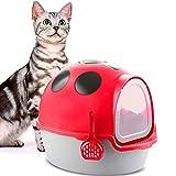 DOOKK Selbstreinigende Katzentoilette in Marienkäferform, spritzwassergeschützt, komplett geschlossene Katzentoilette mit roter Schaufel