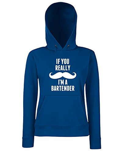 T-Shirtshock - Sweats a capuche Femme BEER0238 If You Really Mustache I m A Bartender Bleu Navy