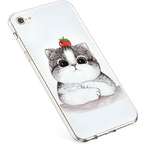 Uposao Kompatibel mit iPhone 6S Plus 5.5 Hülle Silikon Transparent Case Tier Muster Durchsichtig Klar Schutzhülle Anti-Kratzer Hülle Ultradünn Handytasche Bumper Backcover,Weiß Katze