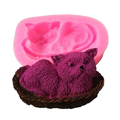 Toporchid Katze, Die In Einem Korb Silikonform Cupcak Topper Dekoration (Korb Schokoladenform)