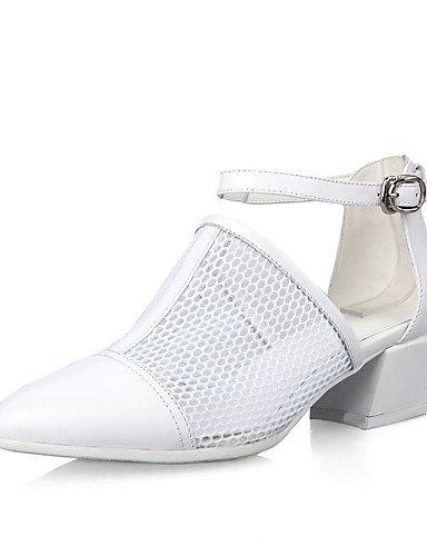 WSS 2016 Chaussures Femme-Bureau & Travail / Décontracté-Noir / Blanc-Gros Talon-Confort / Bout Pointu-Chaussures à Talons-Cuir black-us5 / eu35 / uk3 / cn34