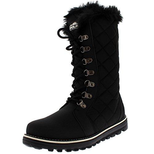 Damen Gesteppt Kunstpelz Gezeichnet Winter Warm Gemütlich Schnee Regen Knie hoch Stiefel - Schwarz - UK9/EU42 - YC0498 (Regen Gesteppte Schwarze Stiefel)