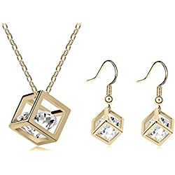Habors 18K Gold Plated Austrian Crystal Heart of Diamonds Pendant set for Women
