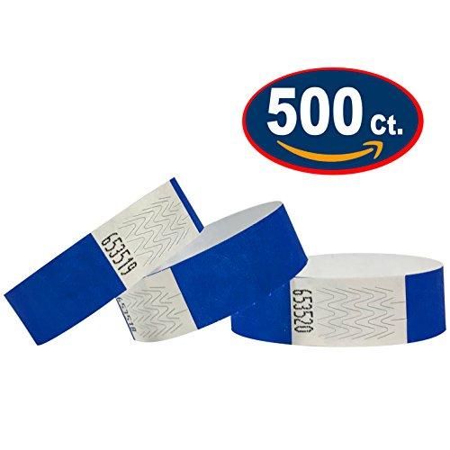 500 pezzi - 19 mm 3/4' Tyvek Wristbands, Tyvek Braccialetti, Tyvek Bracciali, Festival Braccialetti, Night-Club Braccialetti (Blu, 500 Pack)