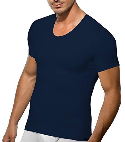 V Ausschnitt Shirt Herren Business Unterhemd Slimfit Herren T Shirt V Neck Doreanse Navy-Blau