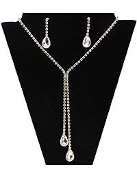 b06c0446d00c Beuya Conjunto Joyas Mujer Diseño Moda Colgantes de Cristal en Forma de  Gota Collar Colgante para