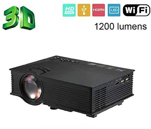 Play™ WiFi Projector Portable Mini LED Full Color 1920 x 1080P 1200 Lumens Home Theater HDMI USB Projector (Black)