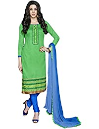 LAVIS Women's Cotton Dress Material (Ranisak110_Free Size_Green)
