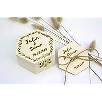 Boîte à alliances personnalisée en bois, gravure des prénoms et date de mariage, écrin bijoux gravé, style champêtre, motif feuillage, forme hexagone