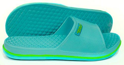 AQUA-SPEED® CORDOBA Badelatschen Poolschuhe Gr. 30-44 (Badeschlappen Latschen Schwimmbad Pool Meer + UP®-Aufkleber) Farbe 02 / Hellblau - Grün