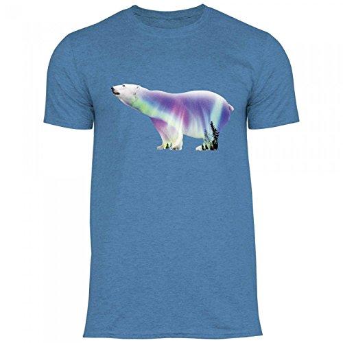 Royal Shirt rs123 Herren T-Shirt Polarbär | Stylischer Eisbär mit Polarlichtern Party, Größe:XL, Farbe:Heather Indigo