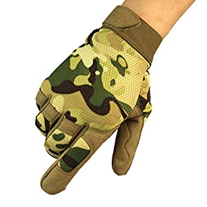 tifee Style Camouflage Sport Gants Tactique Homme/Gants de Vélo, Militaire Gants/Airsoft,Vélo, Scooter, Combat, Camping
