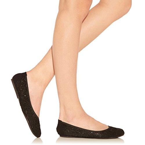 Cocorose London Scarpe Pieghevoli - Balham Scarpe da Ballet Donna Nero Sequin