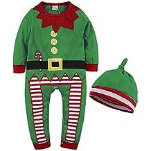 946ba8b4c34d Formesy Bambino Ragazzi Natale Pagliaccetto Neonato Elfo di Natale Costume  con Cappello