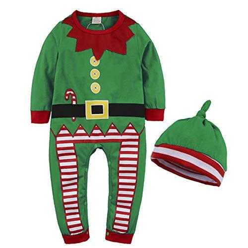 Formesy Bambino Ragazzi Natale Pagliaccetto Neonato Elfo di Natale Costume con Cappello (80 (6-9 Mesi), Verde)