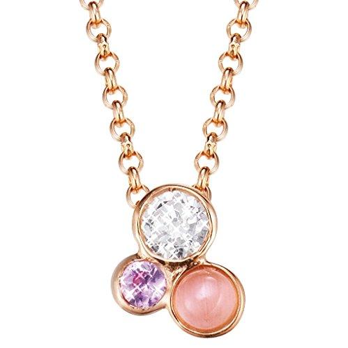 Esprit Damen Halskette Silber vergoldet Zirkonia sweet parfait 42 cm weiß ESNL93193B420 (Rosa Stein Modeschmuck)