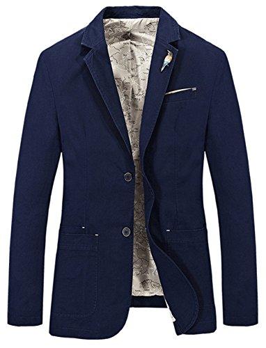 YYZYY Homme Printemps Automne Cotton Deux Bouton Blazer Costume Vestes Mens Suit Jacket Bleu marin