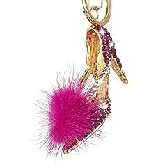 Idea Regalo - Ciondolo portachiavi alla moda a forma di scarpa con tacco alto con strass (colore fucsia)
