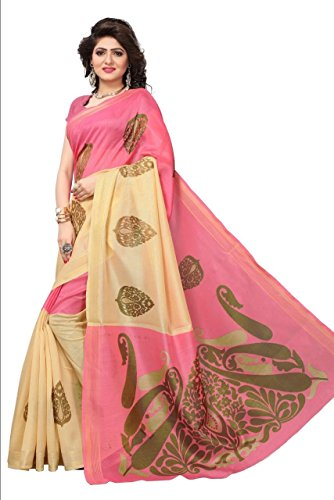 B4U Fashion Floral Printed Pink and Beige Bhagalpuri Silk Saree for women Party wear Latest Traditional New Collections 2018 Designer Sari with Blouse Piece Saree below 500 rs low price