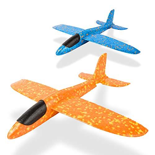 LVHERO 2 stücke 13,5 Zoll Segelflugzeug, manuelles werfen, spaß, Outdoor-Sportarten Spielzeug, Modell Schaum Flugzeug, blau & orange Flugzeug (LO-Flugzeug 2 stück) -