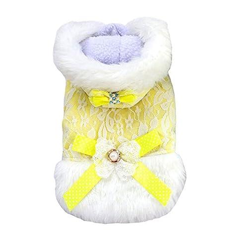 ranphy Kleiner Hund Kleidung für weiblich Spitze Fleece Mantel Kapuze
