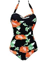 YuanYan Femme Body Guide Pin Up backless Push up Maillot de Bain Femme 1 Pièce Grande Taille Rembourré Rétro Imprimé avec Décoration