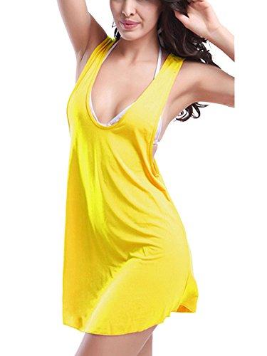 Femme Bretelles Top Couleur Unie De Plage Bikini Cover Up Maillot De Bain Jaune
