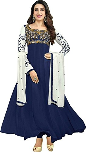 Suits for Women Indo-Western Blue Party Wedding Wear Floor Length Gown/ Anarkali Suit/ Salwar Suit  available at amazon for Rs.599