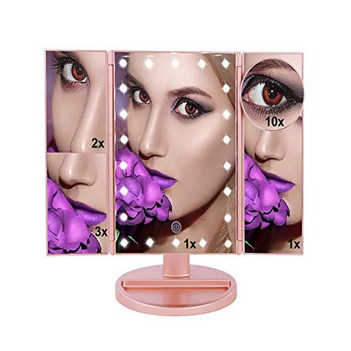Ftct Toletta da Trucco con Specchio Trucco Specchio 22 LED con 10x3X2X1X Specchio ingranditore con Touch Screen