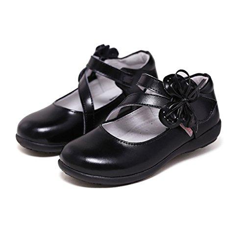 Chaussure en cuir soulier princesse avec fleur ballerines belle mode classique courant Noir