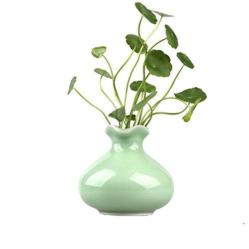 Mini a Mano Celadon Glaze vaso di ceramica bottiglia vaso da fiori Holder