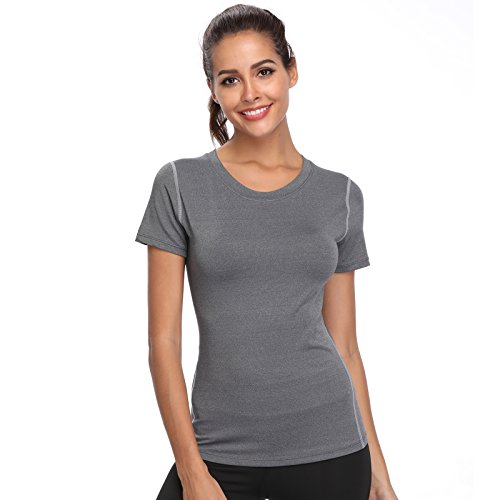 Joyshaper Training Top Damen Yoga Fitness Top T Shirt Quick Dry Kompression Sport Tanktop Sportshirt Trainingsshirt Shirt T-Shirt Running (Grau, Large)