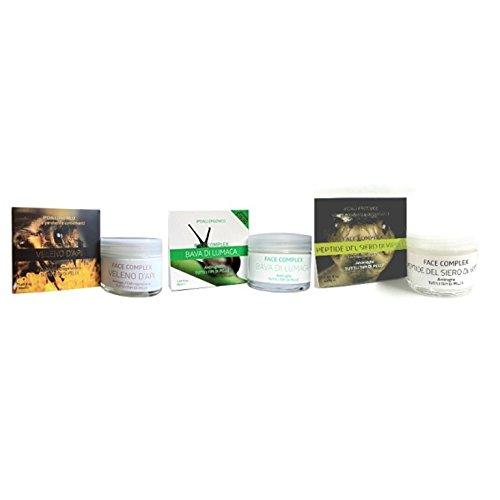 Set mit 3 Anti-Falten-Cremes Face Complex: 1 Creme mit Bienengift + 1 Creme mit Schneckenschleim 1 Creme mit Schlangenserum -