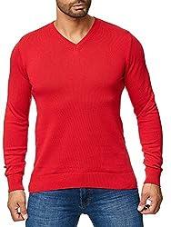 BARBONS Herren Pullover mit V-Ausschnitt - Slim-Fit - Hochwertige Baumwollmischung - Feinstrick-Pullover - Rot XL