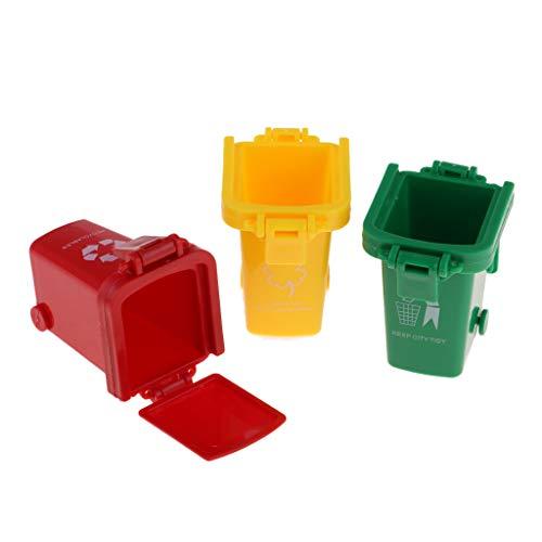 Homyl 3 Stück Mini Mülleimer Müllbehälter Mülltonne Spielzeugtonne Spielzeug für Kinder