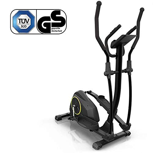 Klarfit Epsylon Cross AS Crosstrainer, Riemenantrieb mit SilentBelt System, 24 Widerstands-Stufen, 12 kg Schwungmasse, Pulsmesser, Tablet-Halterung, TÜV-geprüft, Stahlrahmen, max. 120 kg, schwarz