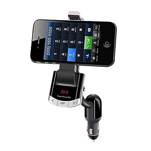 Alxcio FM Transmetteur, Support de Téléphone et Chargeur de Voiture 3 en 1 Sans Fil Bluetooth Universel Voiture Kit avec Mains-libres Appel et Port de Charger USB pour Smartphones MP3 MP4 et Appareils GPS