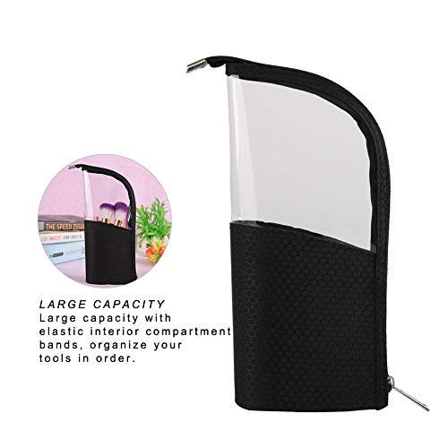 Make up Pinsel Tasche, Multifunktionale Klare Kosmetik Veranstalter, Profi Kosmetiktasche Kosmetik Pinsel Halter, Handtasche für Reisen & Zuhause (pinsel nicht enthalten) (Schwarz)