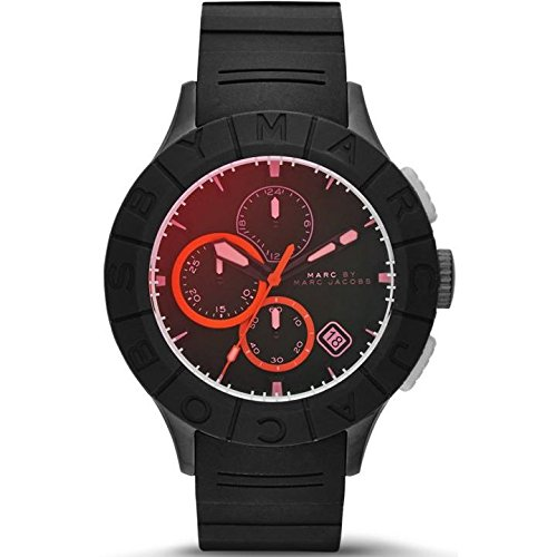 MARC JACOBS MBM5546 GENTS BLACK RUBBER 44MM STAINLESS STEEL CASE DATE WATCH