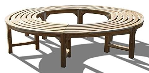 KMH®, 360° Baumbank (Kreis) ohne Rückenlehne aus massivem Teakholz! (#102133) (Runde Gartenbank)