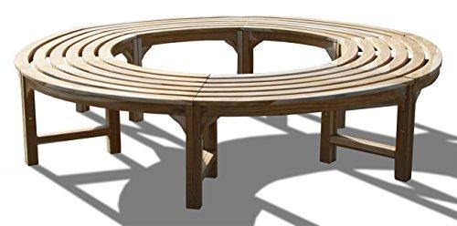 KMH®, 360° Baumbank ohne Rückenlehne Teakholz