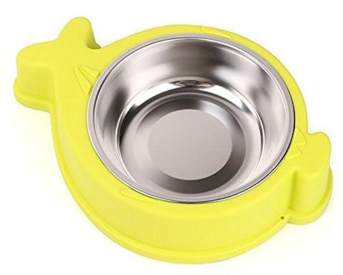 Fournitures pour animaux domestiques chat bol inox amovible bol poisson chien aliments pour chiens casseroles, jaune