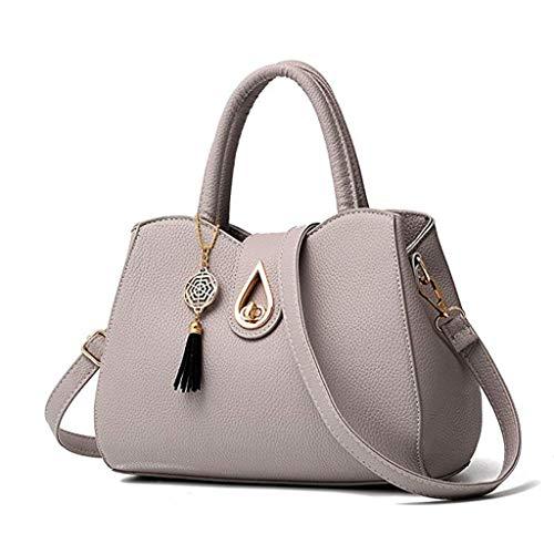 Gjfhome Damen Handtaschen, Handtaschen Mode Große PU-Leder Tote Messenger Multi-Compartment Top-Griff Satchel Umhängetaschen,Gray
