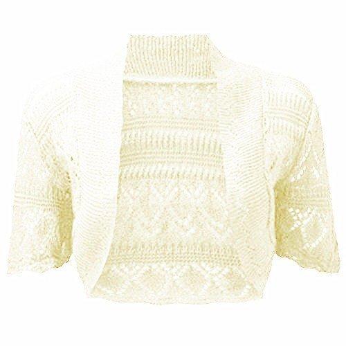 fashionchic femmes BOLERO étole femmes grande taille crochet cardigan tricot grande taille étole Haut 8-30 Crème