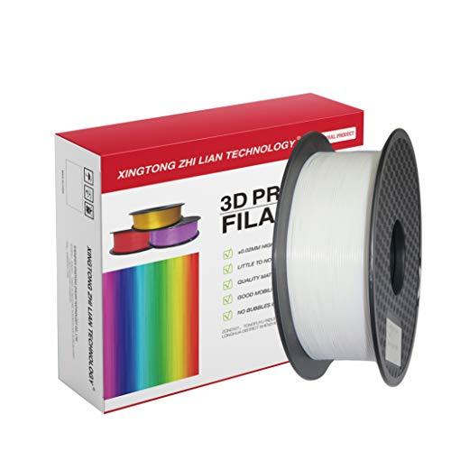 PLA Filamento de Impresora 3D, Precisión Dimensional +/- 0.02 mm, 1kg Carrete, PLA Blanco Filamento 1.75mm PLA impresora 3D filamento PLA metal color filamento PLA Filamento de seda color (Blanco)