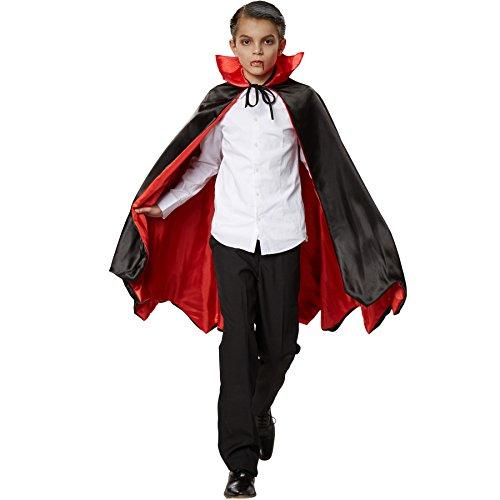 (dressforfun 900372 - Vampirumhang Fledermaus für Kinder, Zweifarbiger Umhang mit eindrucksvollem, aufstellbaren Kragen (72 cm | Nr. 301852))