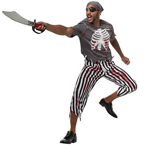 dressforfun 900442 - Herrenkostüm Gruseliger Pirat, Gruseliges und blutbeschmiertes Piraten-Outfit (L   Nr. 302272)