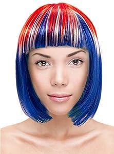 Folat 30944 - Peluca para mujer, color rojo, blanco y azul