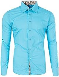 2aa4245495f4 M471 YVES Herren Slim Fit Polo Club Shirt Hemd Langarm Figurbetont Clubwear