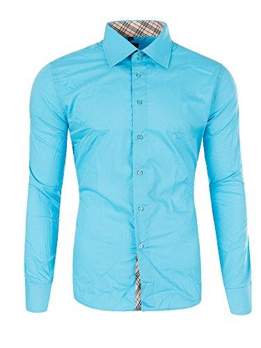 M471 YVES Herren Slim Fit Polo Club Shirt Hemd Langarm Figurbetont Clubwear Türkis